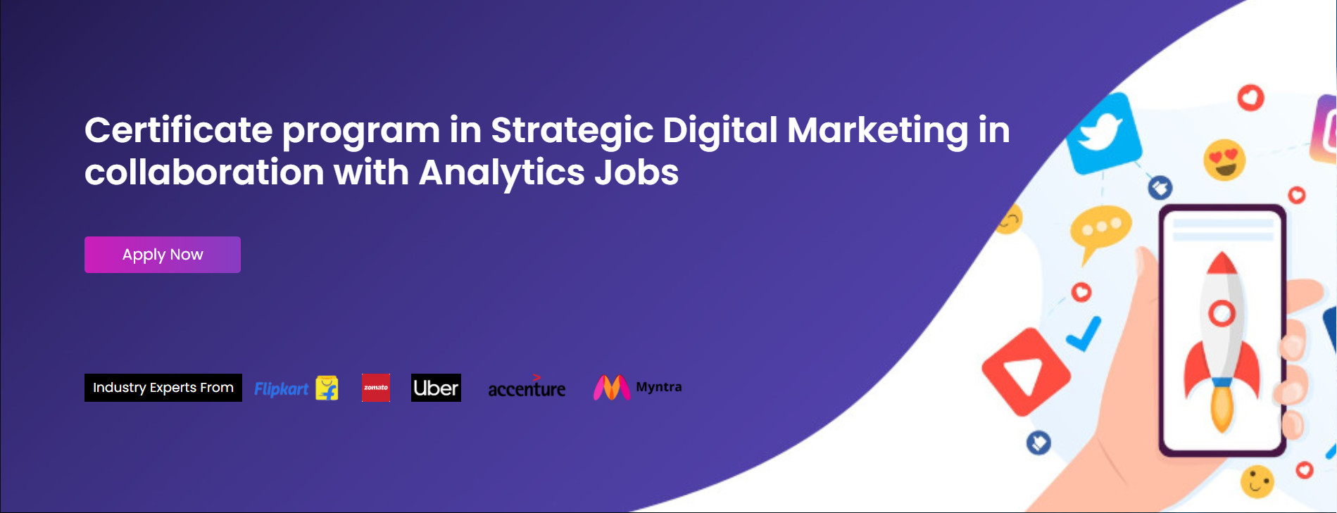 Certificate program in Strategic Digital Marketing in collaboration with Analytics Jobs