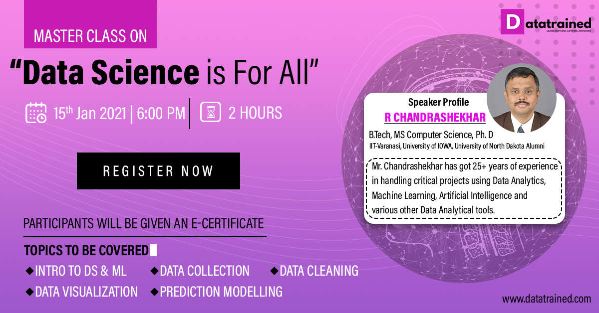 Data Science Master Class by Data Science Expert R Chandrashekar